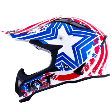 Casco Cross KYT Strike Patriot Blue Red