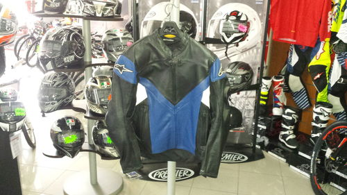 Giacca moto pelle Alpinestars Sphere Leather JK Nero/Blu Tg. 54