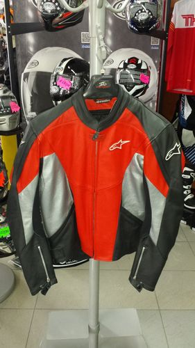 Alpinestars TX-1 Leather Jacket Nero/Rosso Tg. 54