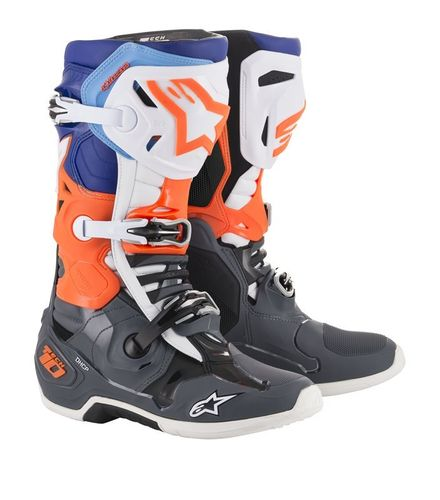 Stivali Alpinestars Tech 10 Cool Gray Orange Fluo Blue White