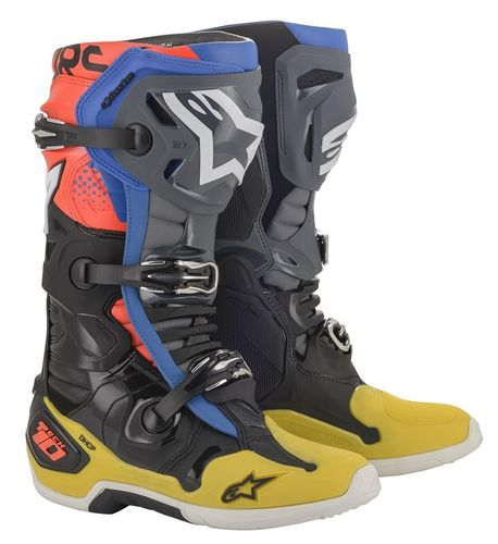 Stivali Alpinestars Tech 10 Black Yellow Blue Red Fluo