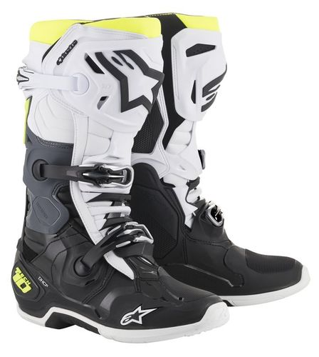 Stivali Alpinestars Tech 10 Black White Yellow Fluo
