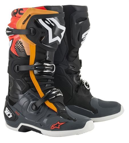 Stivali Alpinestars Tech 10 Black Grei Orange Red Fluo